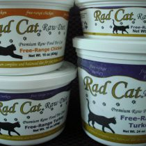 Rad Cat raw cat food tubs