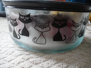 cat pyrex glass storage container